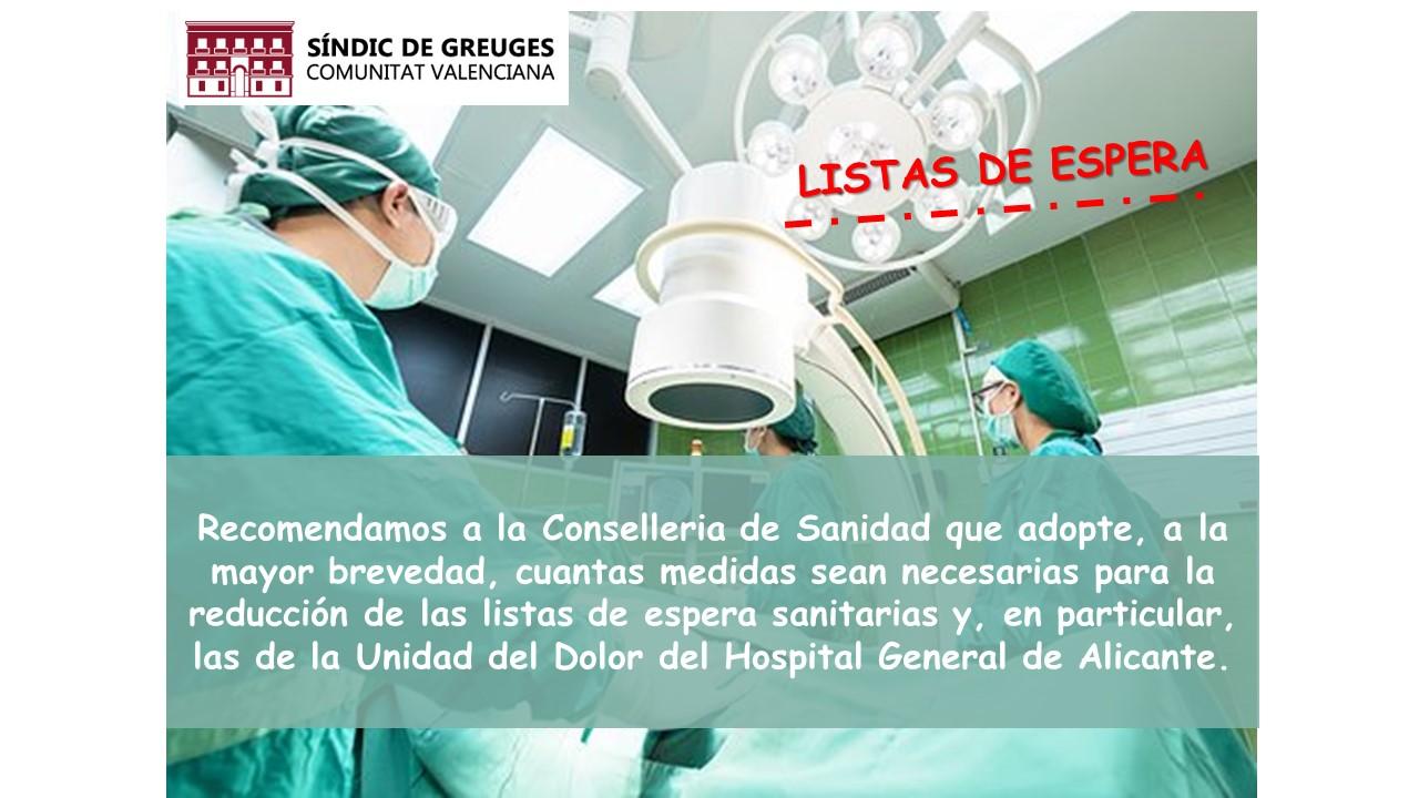 Listas de espera en la Unidad del Dolor del Hospital General de Alicante