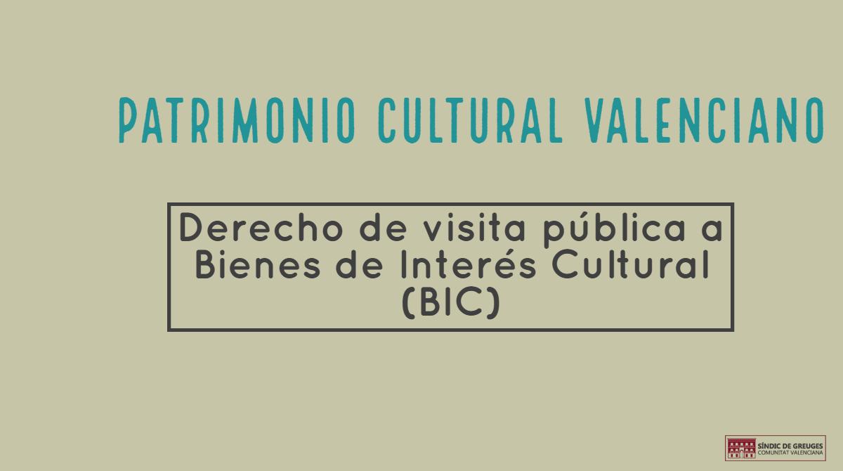 Instamos a la Conselleria de Cultura que facilite las visitas a los bienes de interés cultural de València