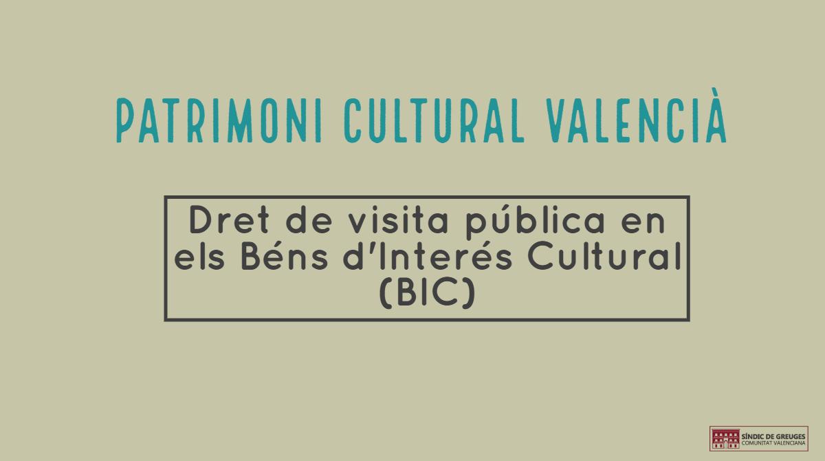 El Síndic apressa Cultura a facilitar les visites als béns d'interés cultural de València