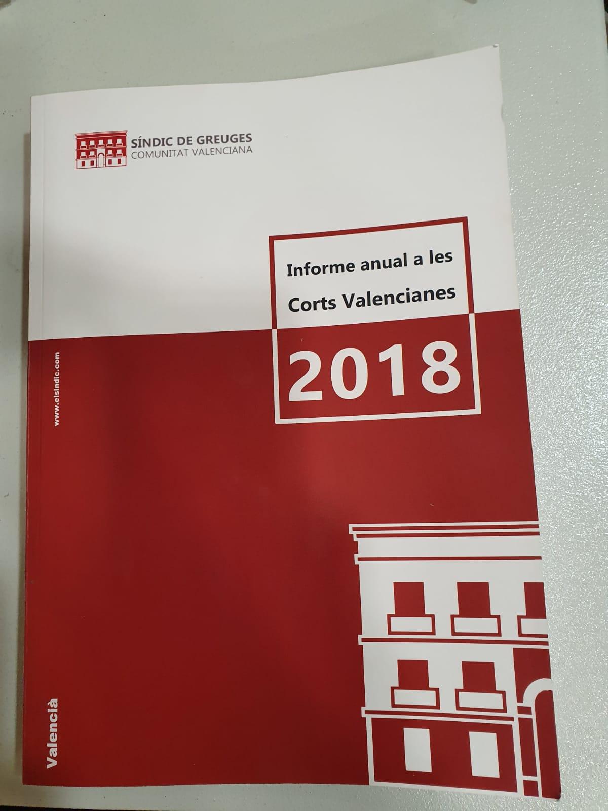 El Síndic de Greuges ha lliurat l'Informe anual de 2018 a les Corts